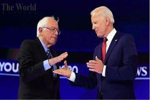 Joe Biden and Bernie Sanders both together outsting Donald Trump