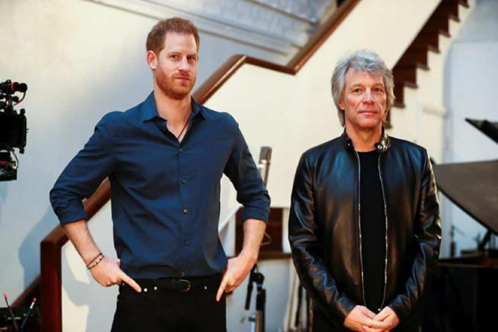 Prince Harry promotes Bon Jovi's Unbroken honouring the brave hearts of armed forces