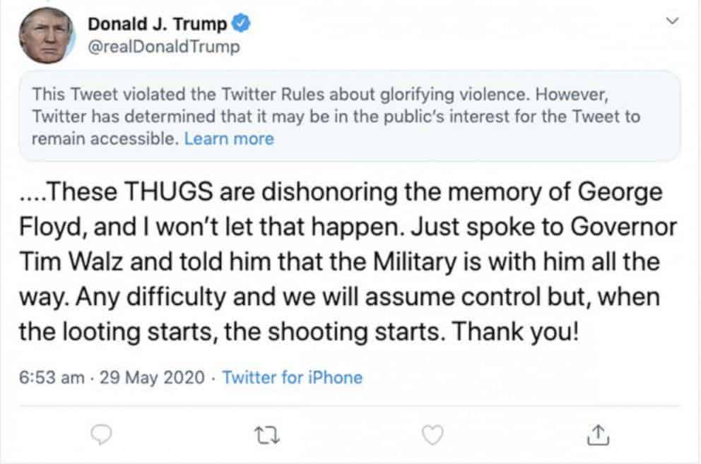 trump violence tweet - International ramifications of US Big Tech's power