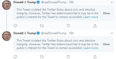Trump deleted tweets - US, Twitter removes Trump post reducing Covid-19 deaths. On the Russian darknet data of millions of US voters