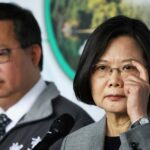 taiwanese president tsai ing wen answers the media during a visit to a non woven filter fabric factory, where the fabric is used to make surgical face masks, in taoyuan